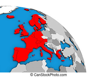 Western Europe on 3D globe - Western Europe on simple blue ...