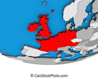 Western Europe on 3D globe