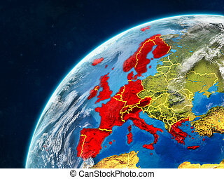 Western Europe on Earth with borders - Western Europe on ...