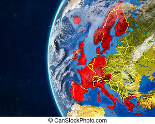 Western Europe on globe from space - Western Europe from ...