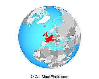 Western Europe on globe isolated