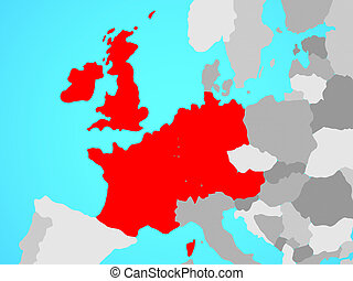 Western Europe on map - Western Europe on blue political ...