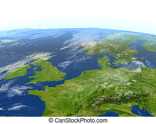 Western Europe on planet Earth - Western Europe. 3D ...