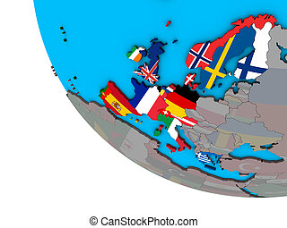 Western Europe with flags on 3D globe - Western Europe with ...