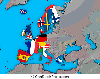 Western Europe with flags on 3D map - Western Europe with ...