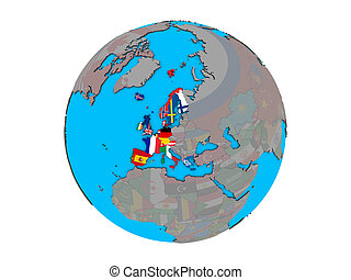 Western Europe with flags on globe isolated - Western Europe...
