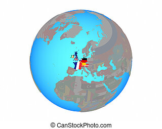 Western Europe with flags on globe isolated