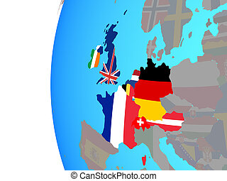 Western Europe with flags on globe