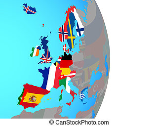 Western Europe with flags on globe - Western Europe with ...