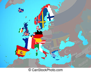 Western Europe with flags on map - Western Europe with ...