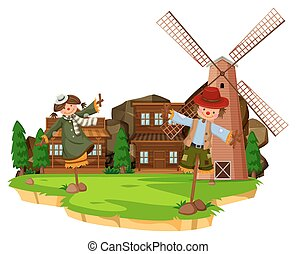 Western farm scene with scarecrows and windmill
