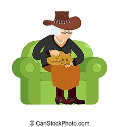 western Grandmother cowboy and cat sitting on chair. Texan granny cat lady. grandma in Texas and pet. old woman in Hat and animal. gammer in Boots and Beast