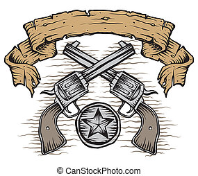 Western Guns - western guns with scroll and star