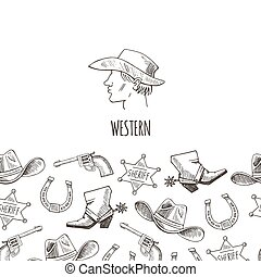 Western hand draw sketch vector set.