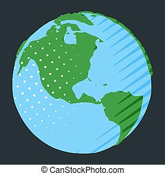 Western hemisphere on globe with USA placing on planet Earth