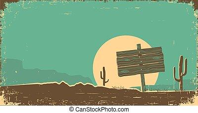 Western desert landscape background. Vector illustration on old paper texture