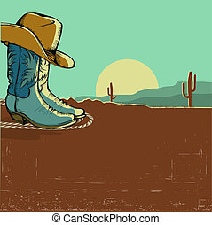 western image illustration with desert landscape. Vector ...