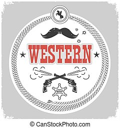 western label with cowboy decotarion isolated on white.