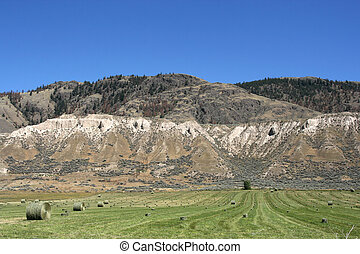 Western-like landscape near Kamloops in British Columbia, Canada. Hay bales on a pasture.