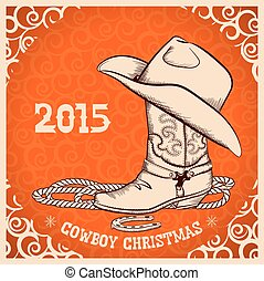 Western New Year with cowboy boot and hat. Vector greeting card