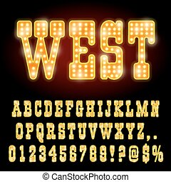 Western Style Night Font. Gold colored vector alphabet
