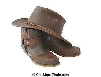 western outfit - western boots and hat on white