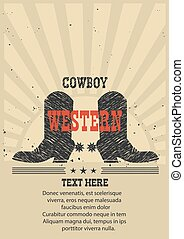 Western poster for text Cowboy boots background.