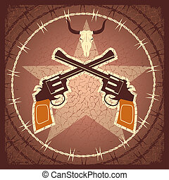 WEstern poster with guns and bull skull