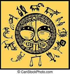 Western Primitive Zodiac #1 - Primitive western zodiac...