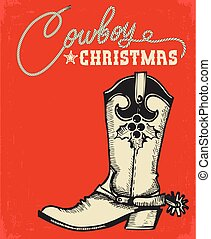Western red christmas card with cowboy boot and text