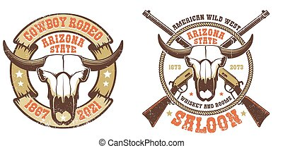 Western retro logo - buffalo skull with crossed rifles