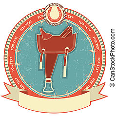 Western saddle on label background isolated on white