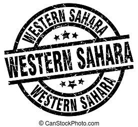 Western Sahara black round grunge stamp