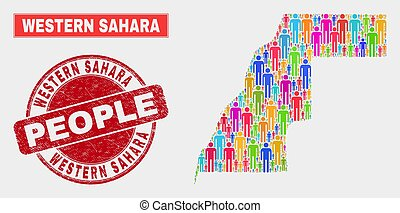 Western Sahara Map Population Demographics and Corroded Seal...