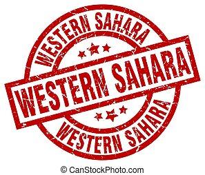 Western Sahara red round grunge stamp