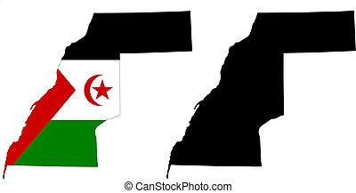 western sahara - vector map and flag of Western Sahara with...