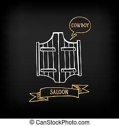 Western saloon door. Sketch vector design.