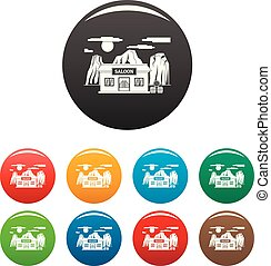 Western saloon icons set color