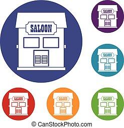Western saloon icons set