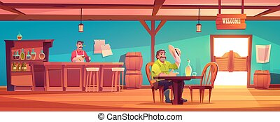 Western saloon with cowboy and barman behind counter. Vector...