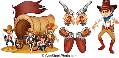 Western set with cowboy and guns