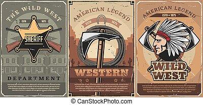 Western sheriff star, guns and tomahawk - Wild west crossed...