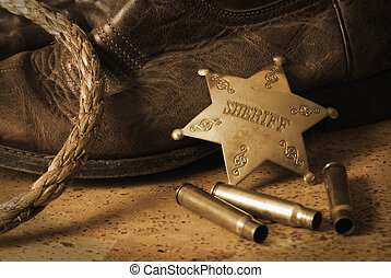 Western Sheriff - An antique still life on the western...