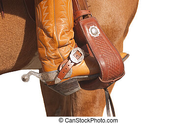 Rider wearing western boots and spurs with foot in a the stirrup of a western saddle