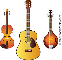 Three common western stringed instruments - a violin, a guitar and a mandolin.