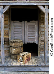 Western Style Saloon with Barrel and Box