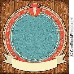 Western symbol background on wood texture