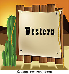 Western text frame - Western wooden text frame with cactus...