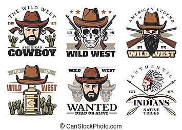Western theme icons with cowboy in hat and weapon