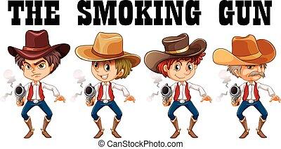 Western theme with cowboy shooting guns